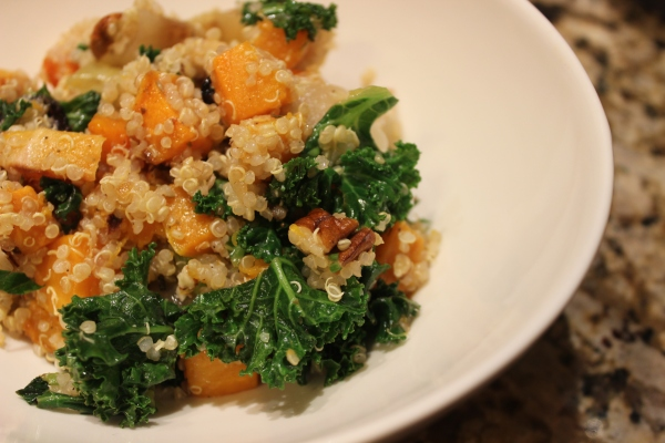 Quinoa with roasted butternut squash, yellow onion, and garlic with toasted pecans and kale