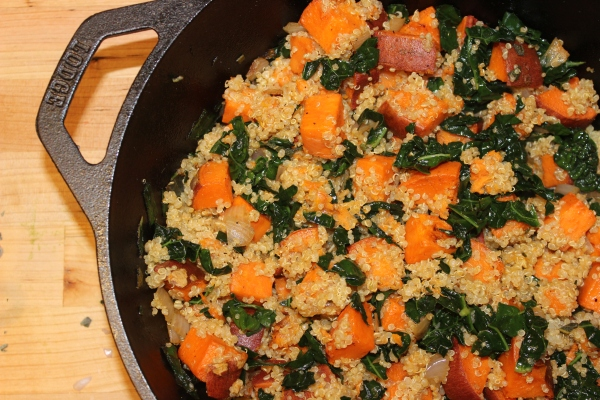 Roasted sweet potato, quinoa and kale skillet