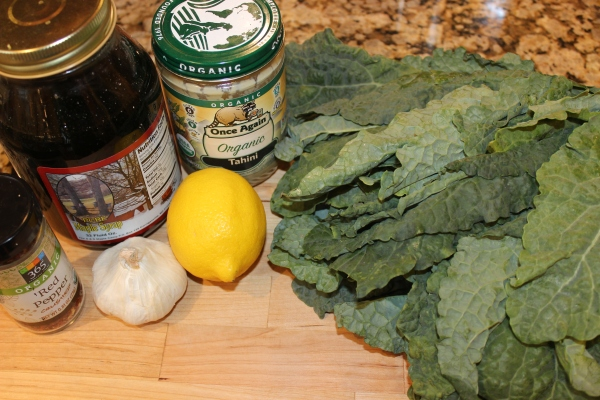 Dressing ingredients & a head of dino kale for the 5-flavor kale salad