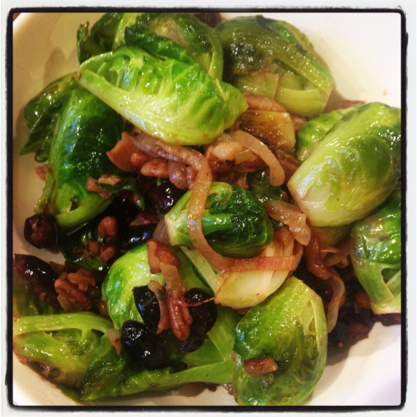Sauteed Brussels Sprouts with Shallots, Cranberries & Pecans