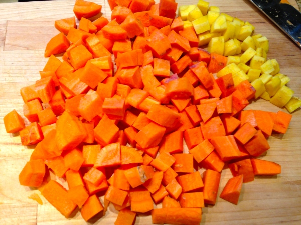 Chopped rainbow carrots are part of this comforting, nourishing meal