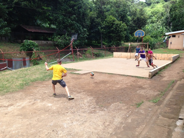 Bill playing soccer at El Canyon when we were on our missions trip to Nicaragua