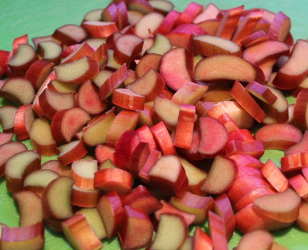 Chopped rhubarb. So pretty and colorful!