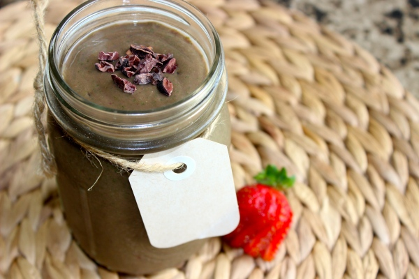 Chocolate-covered strawberry shake! I topped mine with some cacao nibs for a little crunch :)