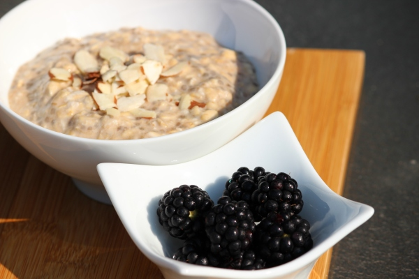 Top with or stir in your choice of nuts, seeds, nut butter and/or berries (I used slivered almonds and blackberries!).