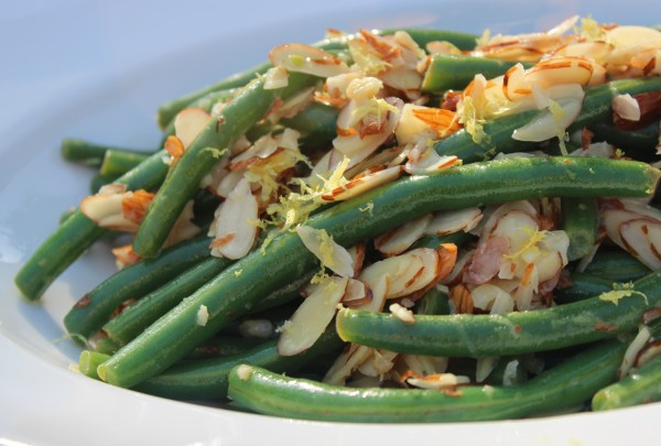 One of Bills new) favorites! Garlicky green beans with lemon and slivered almonds