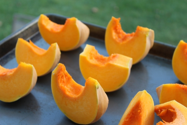 Put the pumpkin slices on a baking sheet and roast for 45-60 minutes or until you can easily pierce the pumpkin with a fork.