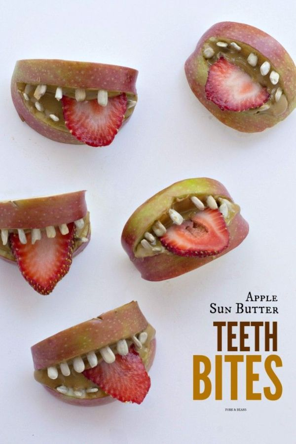 Apple Sun Butter Teeth Bites