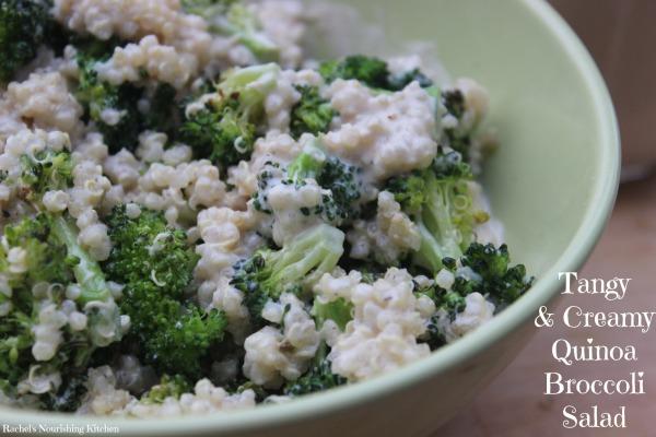 Tangy creamy quinoa broccoli salad