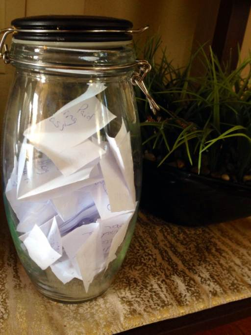Our gratitude jar. We collect memories in it throughout the year and write them out in a journal at the end of the year.