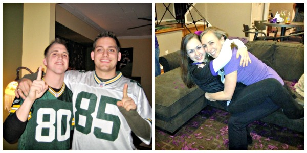 My hubby and his friend Josh after the Packers won the 2010 Super Bowl. My sister, Jane, and I celebrating after the Ravens won in 2012.