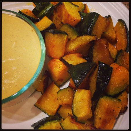 Clean Gut's roasted kabocha and curried tahini sauce. SO good!