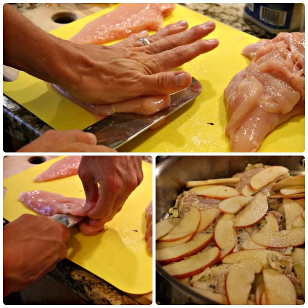 Bill cutting the chicken into thinner, faster-cooking cutlets!